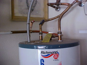 Improper plumbing to an electric water heater can be a safety concern and should only be installed or repaired by a professional, licensed plumber.